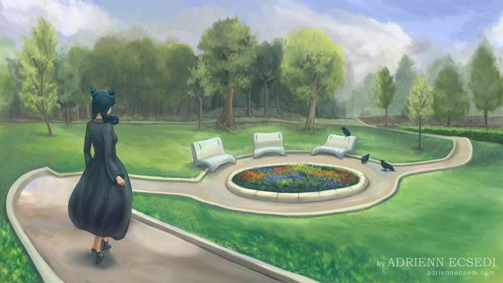 Séta a parkban - Ecsedi Adrienn digitális festménye