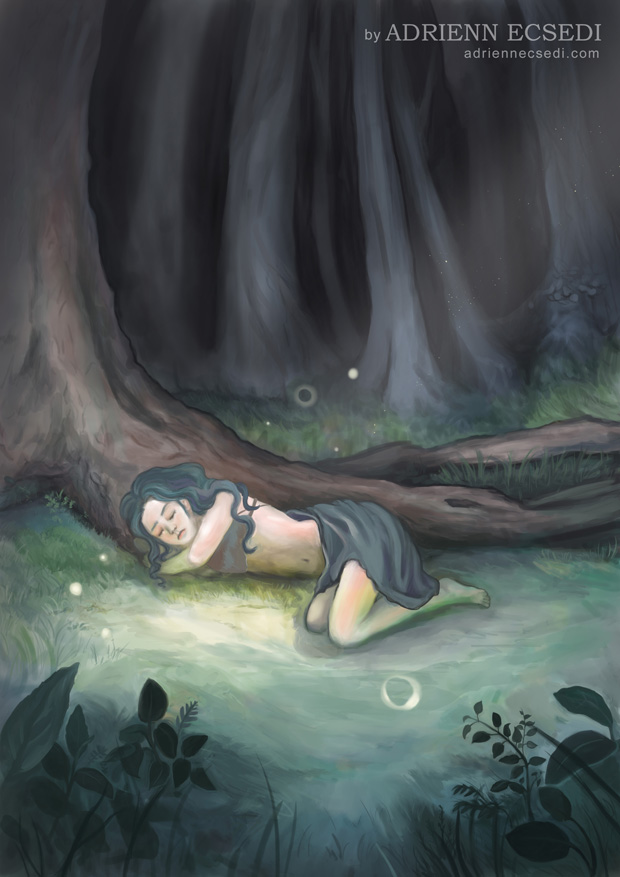 Az erdőben aludni - Ecsedi Adrienn digitális festménye