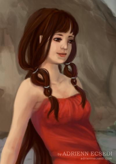 Barna hajú elf lány portré